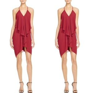 LIKE NEW Olivaceous Deep Red Flowy Draped Dress